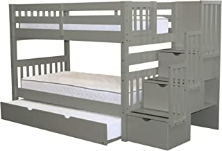 Bedz King Stairway Bunk Beds Twin over Twin with 3 Drawers in the Steps and a Twin Trundle, Gray