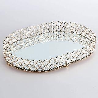 N-B Vassoio per Gioielli Ovale con Decorazione in Cristallo di Moda Vassoio per Decorazione con Base a Specchio in Vetro V...