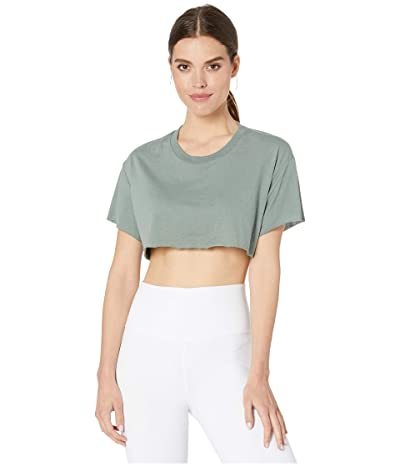 ALO Cropped Short Sleeve Top (Moss) Women