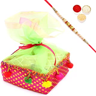 Ghasitaram Gifts Rakhi Gifts for Brothers Rakhi Dryfruits Colourful Almonds Pouch with Pearl Rakhi