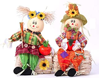 Gardenised QI003425 Scarecrow Boy and Girl Set Sitting on a Hay Bale