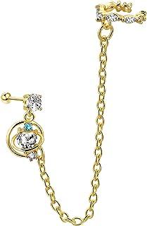 Jewseen Cartilage Chain أقراط لامعة CZ الأذن الكفة الغضروف ثقب مزدوج أقراط للنساء والفتيات مجوهرات هدية