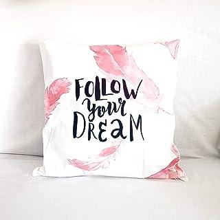 Federa Copricuscino Divano, 45x45 cm, Poliestere, Follow Your Dream Quote Piume