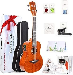 AKLOT Electric Acoustic Concert Ukulele Solid Mahogany Ukelele 23