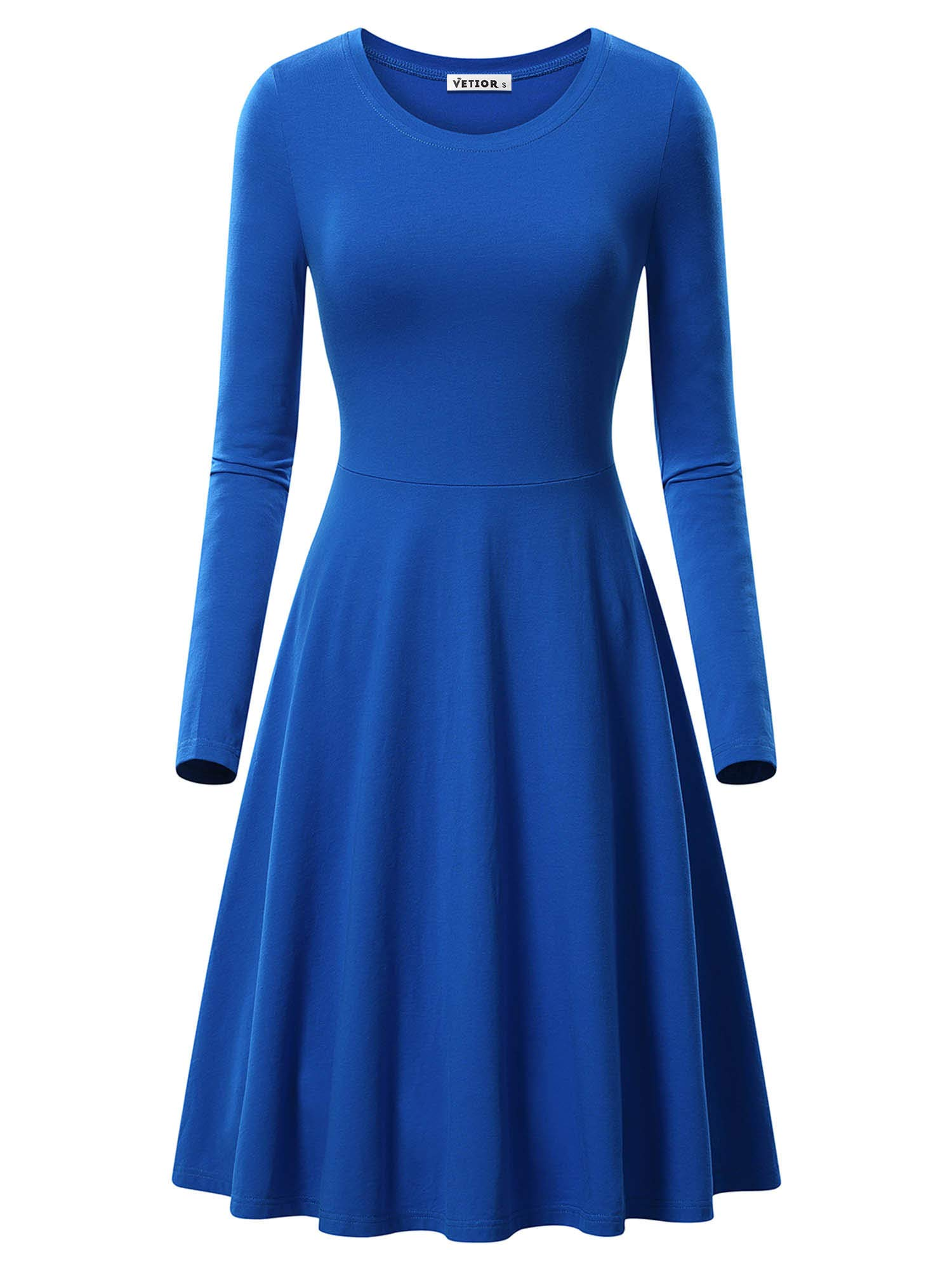 Available at Amazon: VETIOR Women's Long Sleeve Scoop Neck Casual Flared Midi Swing Dress