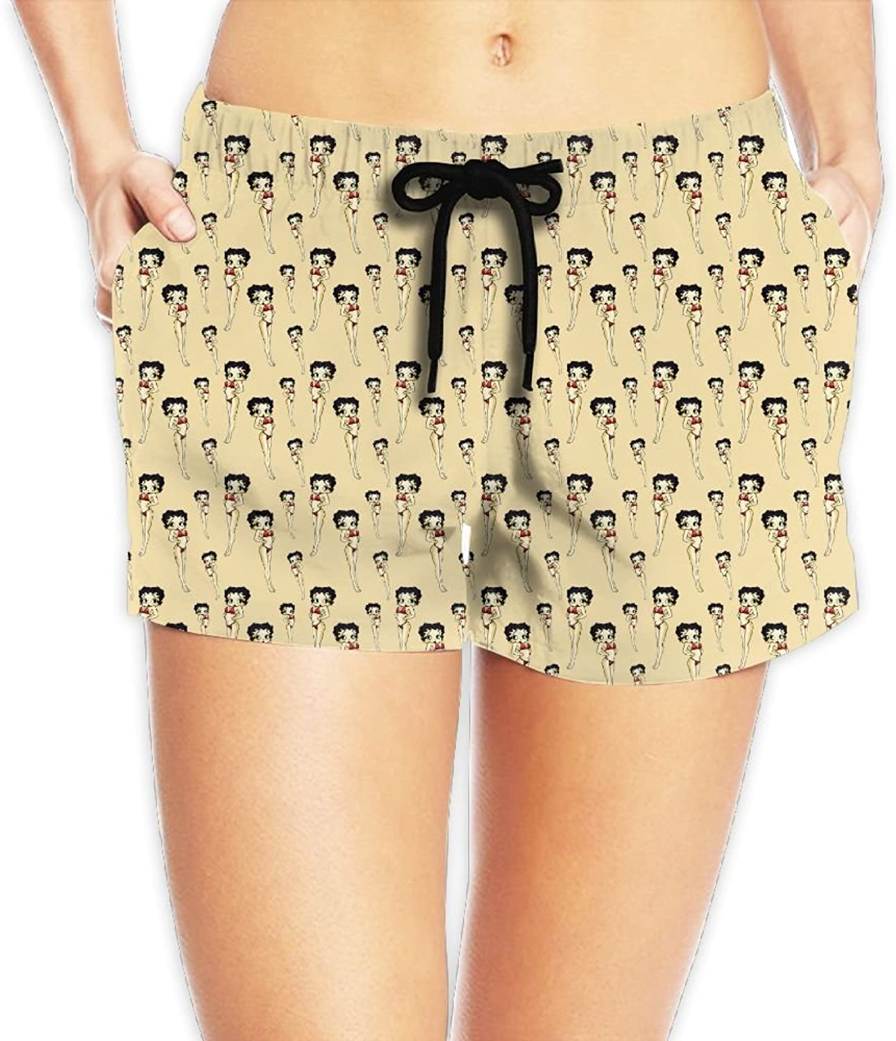 Betty Boop Backgrounds Board Shorts Sexy Shorts With Pockets For Womans White