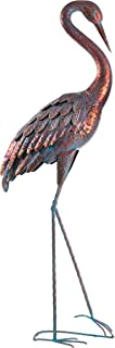 Kircust Garden Statues Patina Heron Decoy, Standing Metal Crane Sculpture for Outdoor Patio Lawn Pond Decoration, 47-Inch Tall (1PC)
