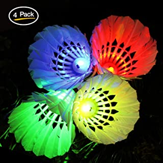 Novelty Place Led Badminton Shuttlecock Set Birdies for Yard Games, Outdoor Indoor Sports Toys (4 Pack)