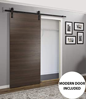 Wood Barn Door 36 x 96 inches with Rail 6.6FT | Planum 0010 Chocolate Ash | Pre-drilled Rail Hangers Floor Guide | Closet Door Solid Core Modern Interior