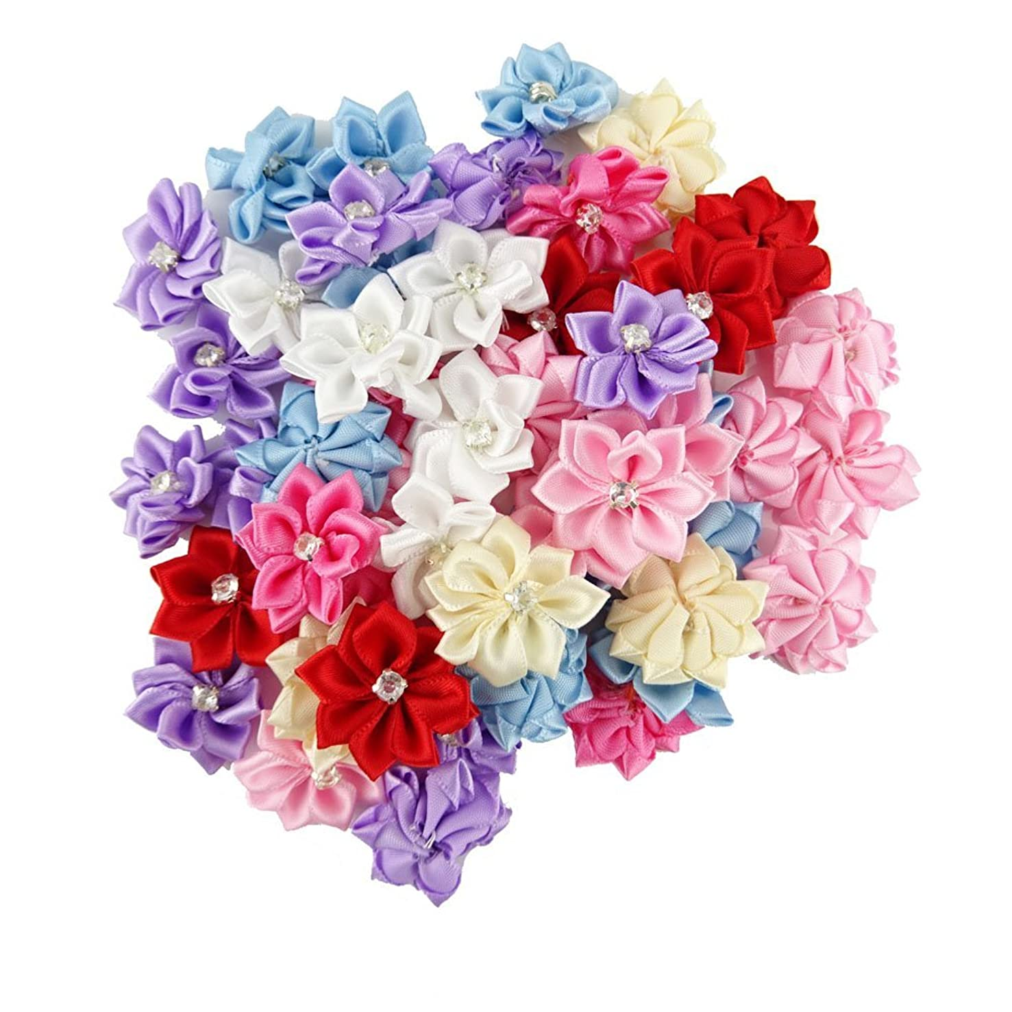 yueton Pack of 50 DIY Satin Ribbon Flowers with Rhinestone Craft Wedding Ornament Appliques (Assorted color-50pcs)