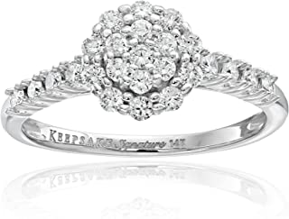 Keepsake Signature 14k White Gold Diamond Cluster Halo Engagement Ring (3/4 cttw, H-I Color, I1 Clarity)