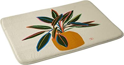 "Society6 2021 Bath Mat, 21"" x 34"", sandrapoliakov Plant with Colourful Leaves"