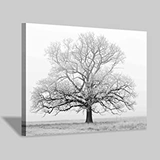 Hardy Gallery Winter Tree Canvas Print Artwork: Black & White Landscape Painting Wall Art for Office or Living Rooms Decoration (36'' x 24'')