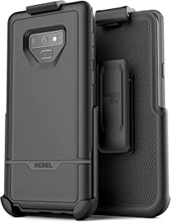 Encased Rebel Case for Galaxy Note 9 Case with Belt Clip Holster, (Dual Layer Hybrid) Rugged Protective Cover with Shock Resistant TPU Lining for Samsung Note 9 Phone (Armada Black)