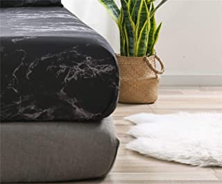 Wiseelife Marble Print Pattern Fitted Sheet Only with Deep Pocket 12 Inch Black and White Style Bedding Accessories(Black,Full)