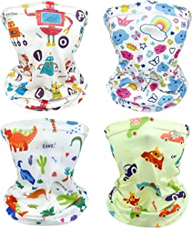 MENOLY Kids Face Cover Bandanas Kids Neck Gaiter Balaclavas Multifunctional Mouth Cover Face Cover Scarf for Dust, Outdoors, 4 Pack