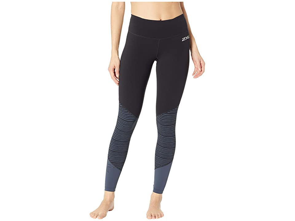 2XU Fitness Mid-Rise Compression Tights (Black/Outer Space Stripe) Women