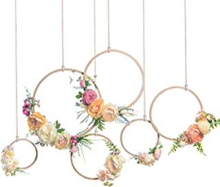 Ling's moment Summer Greenery Wedding Vine Wreaths Set of 6, Nursery Decor Rustic Wedding Backdrop, Artificial Roses Plant Flower Garland, Woodland Wedding Decoration Floral Hoop