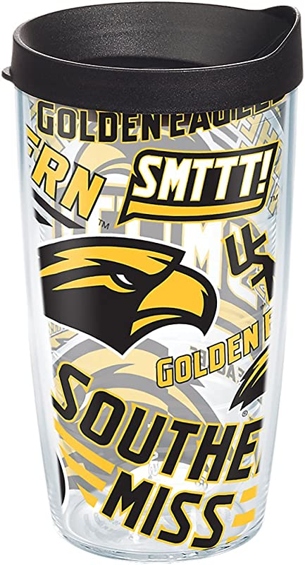 Tervis 1267941 Southern Miss Golden Eagles All Over Tumbler With Wrap And Black Lid 16oz Clear