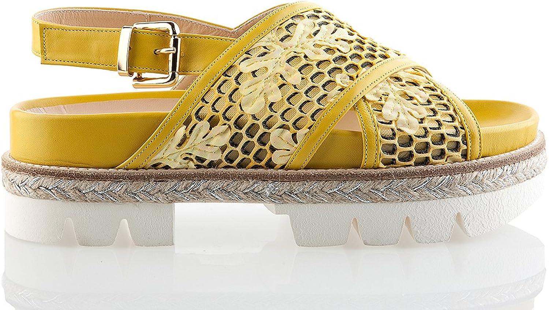 Fiorangelo 6366 Yellow Snake Leather 1.5  High Platform Italian Designer Women Summer Sandals