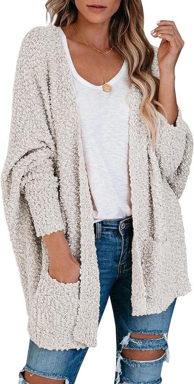 MEROKEETY Women's Fuzzy Popcorn Batwing Sleeve Cardigan Knit Oversized Sherpa Sweater Coat
