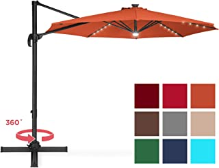 Best Choice Products 10-Foot Solar LED 360 Degree Aluminum Polyester Cantilever Offset Market Patio Umbrella Shade w/Easy Tilt and Smooth Gliding Handle, Orange