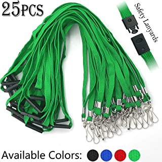 Lanyards Safety Black Lanyards Neck Flat Premium Breakaway Badge Lanyard with J-Hook for ID Nametag Badge Holder (Green, 25 PCS)