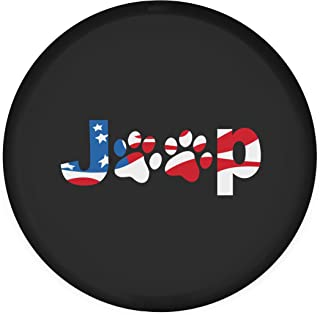 Moonet America Flag Dog Paws Spare Tire Cover Canvas Car Truck SUV Camper for Liberty Wrangler Commander Compass Grand Cherokee Size XL R17 P265/75R16 255/75R17 (Diameter 31inch-33inch)