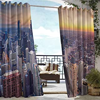 Outdoor Privacy Curtain for Pergola American,Chicago City Aerial View,W84 xL84 for Patio Light Block Heat Out Water Proof Drape