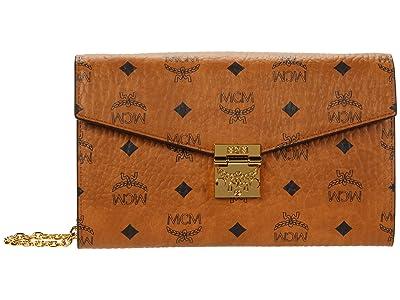 MCM Patricia Visetos Flap Wallet/Two-Fold Large (Cognac 1) Bags