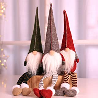 Uheng 3PCS Handmade Swedish Santa Gnome Tomte, Plush Toy Christmas Tree Topper Hanging Decorations, Winter Elf Table Holiday Ornament - Thanksgiving Day Gift - 20 Inches