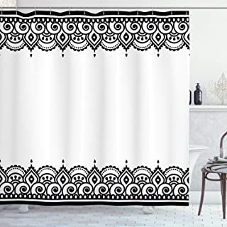 Ambesonne Arabesque Shower Curtain by, Middle Eastern Ornamental Mehndi Style Henna Embellished Moroccan Pattern, Fabric Bathroom Decor Set with Hooks, 75 Inches Long, Black and White