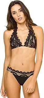 PilyQ Women's Midnight Crochet Lace Overlay Brazilian Bikini Bottom