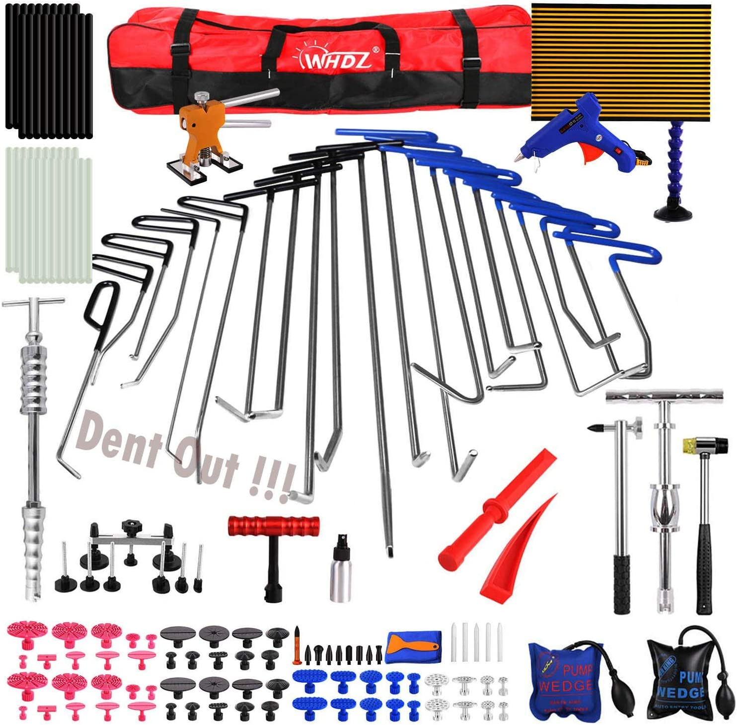 WHDZ Paintless Dent Large special price !! Repair Bombing new work Rods Doub Hammer LED Tools Kit