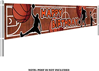 Colormoon Basketball Birthday Banner, Large Basketball Party Supplies Decorations, Sports Happy Themed Birthday Banner (9.8 x 1.5 feet)