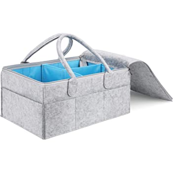 Hinwo Panier /à couches 3 compartiments pour b/éb/é Panier de rangement portable en coton avec s/éparateur amovible pour couches et lingettes
