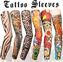 Akstore 6pcs Set Arts Fake Temporary Tattoo Arm Sunscreen Sleeves Designs Tiger, Crown Heart, Skull, Tribal and Etc