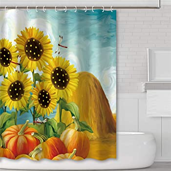Halloween Pumpkin Flowers Bathroom Shower Curtain Set Waterproof Fabric Hooks