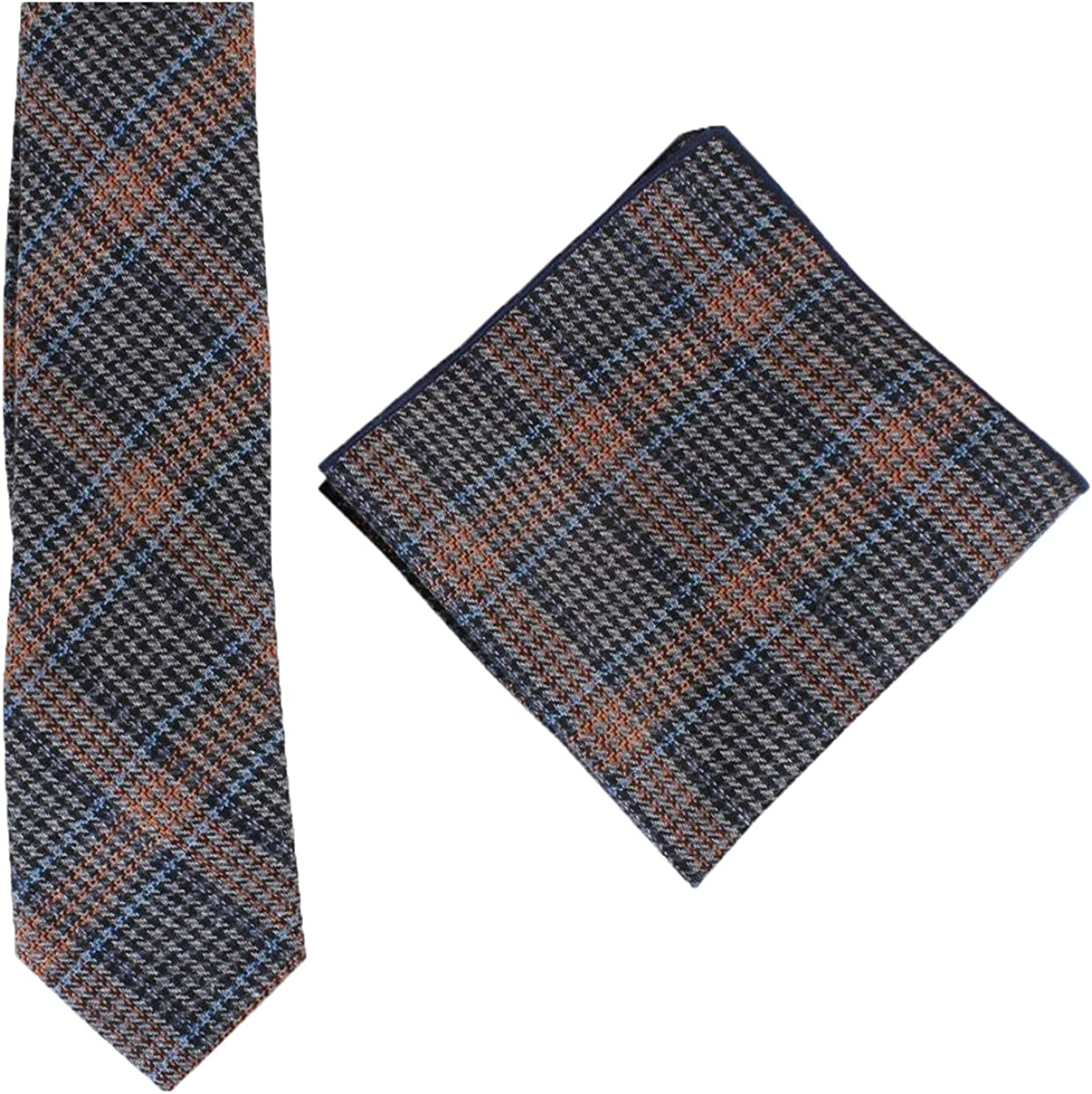 Knightsbridge Neckwear Mens Prince of Wales Check Tie and Pocket Square Set - Blue/Orange/Grey