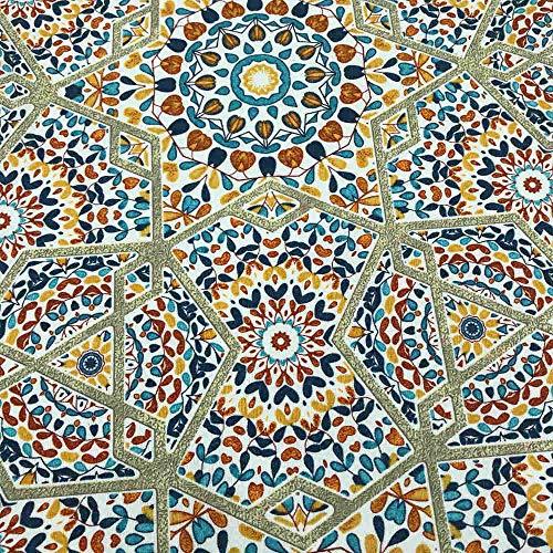 Kt KILOtela Tela de loneta Estampada - Retal de 100 cm Largo x 280 cm Ancho | Azulejos, vitral - Multicolor ─ 1 Metro