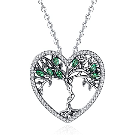 Sterling Silver with Gold Overlay Three Pearl Tree of Life Heart Shape Pendant