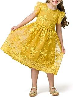 con volant giallo 100 cm per feste principessa Vestito per bambina stile casual DaMohony