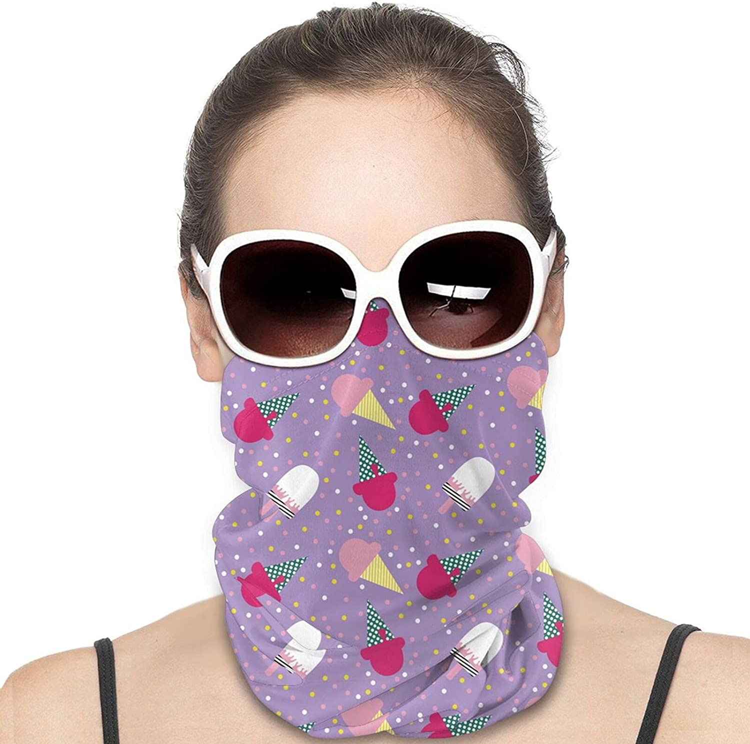 Cartoon Ice Cream Round Neck Gaiter Bandnas Face Cover Uv Protection Prevent bask in Ice Scarf Headbands Perfect for Motorcycle Cycling Running Festival Raves Outdoors