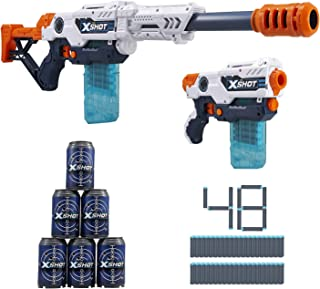 XShot Excel Max Attack and Hurricane Foam Clip Blaster Combo Pack (48 Darts, 2 Extra Clips, 6 Cans) by ZURU
