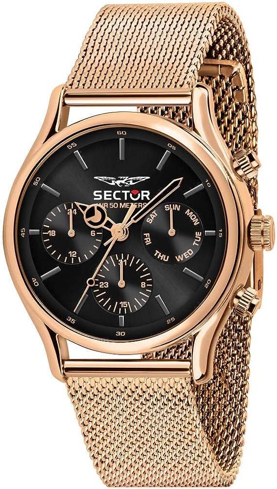 Sector no limits orologio cronografo da uomo multifunzione in acciaio e pvd oro rosa R3253517010