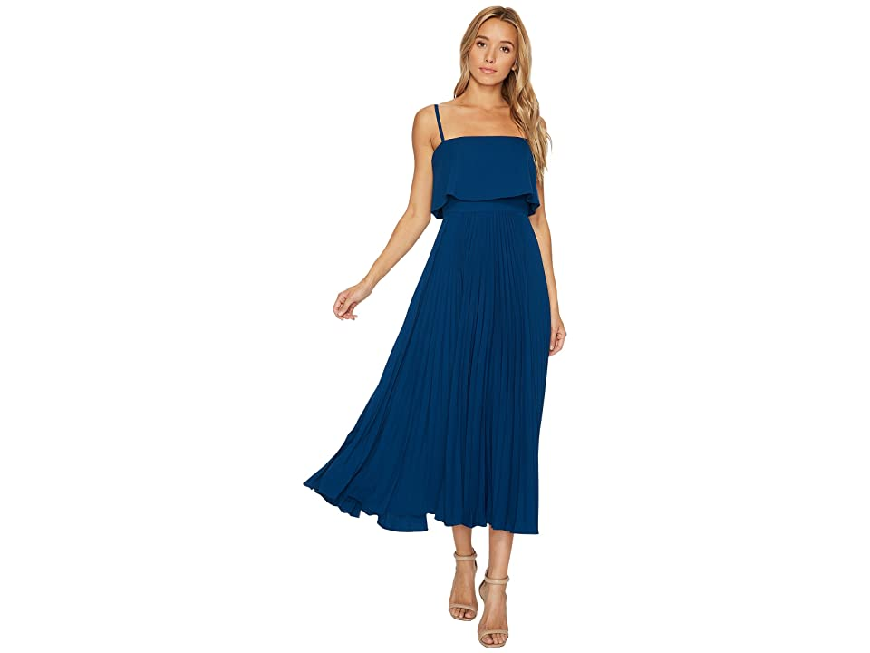 JILL JILL STUART Pleated Popover Midi Dress (Dark Blue) Women
