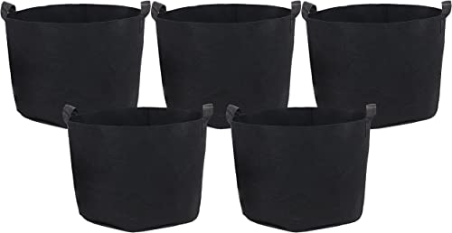 discount Sunnydaze 5-Pack 7-Gallon Garden Grow Bags for new arrival popular Vegetables - Black 300 GSM Non-Woven Polypropylene Felt Fabric Flower Pots and Planters with Handles - Gardening Containers outlet sale