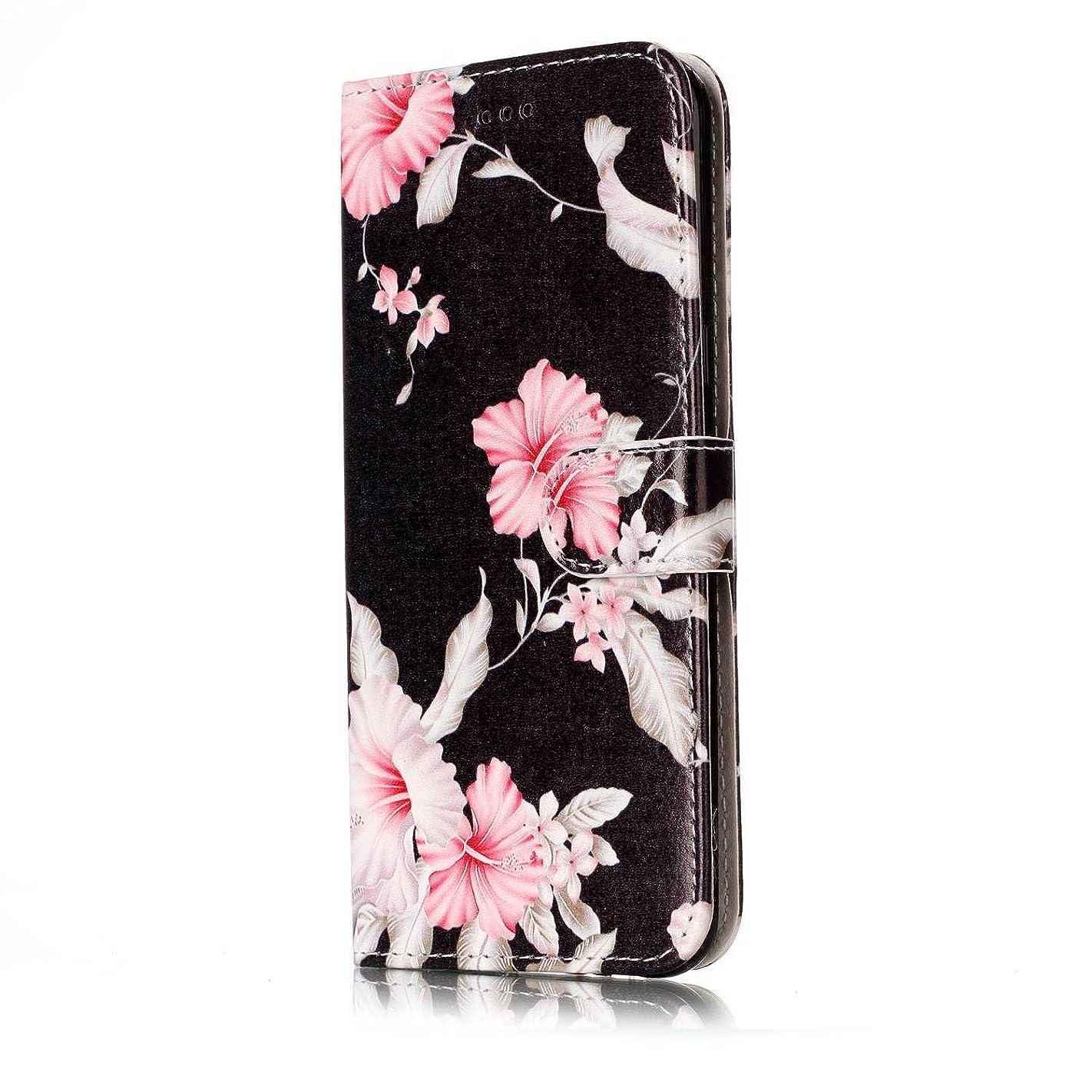 私たちのバリケード膜OMATENTI Galaxy S8 ケース, 簡約風 軽量 良質 PU レザー 財布型 カバー ケース, 人気カバー 衝撃吸収 液晶保護, カード収納 横置きスタンド機能付き マグネット Galaxy S8 用 Case Cover, 黒花