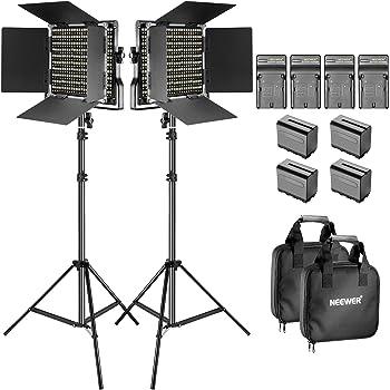 Neewer 660 LED-Licht zweifarbig verstellbar mit U-Halterung und Barndoor (3200-5600 K, CRI 96 +) mit Lichthalterung für Studio Youtube (2 Stück)