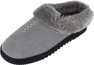 Dearfoams Women's Genuine Suede Clog Slippers with Stitch Detail, 10, Grey